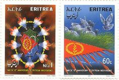 Stamps issued by the Eritrean Postal Services om the occasion of Eritrea's 10th Independence Day, May 24th 2001.