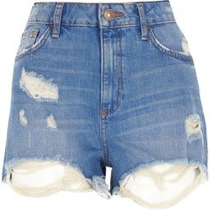River Island Denim distressed high waisted shorts ($60) ❤ liked on Polyvore featuring shorts, bottoms, high-waisted shorts, high rise jean shorts, destroyed jean shorts, distressed shorts and ripped shorts