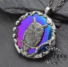 Owl~Titanium Hematite~Engraved Pendant – PeagerFantasyWorld
