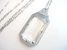 Art Deco Necklace Large Rock Crystal Rhodium by bohemiantrading, $165.00