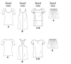 ***McCall's M6288 Pattern - Tops, Dress and Skirt***. Pullover tops A, C, D & dress B have neck, armhole & sleeve self-binding; top A has above elbow sleeves; dress B is above mid-knee, racer back with cut-in armholes & narrow bias band applied along center front & back; tops C, D extended shoulders form cap sleeves, detailed front seaming, back key-hole opening with button and self loop; top D has contrast sections; pull-on, lined skirt E is above mid-knee, has elasticized waist & side…