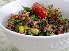 red quinoa and avocado salad, vegan!