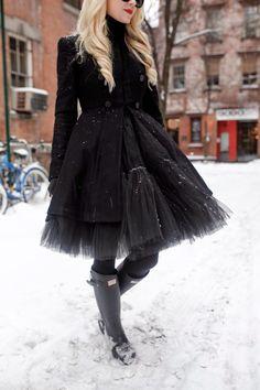 black tulle + hunter boots