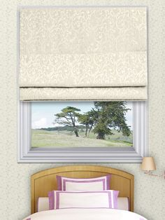 Elspeth Ivory Roman Blinds - The Elspeth roman blind range can be made with standard or blackout lining. The blackout lining can only be made with roman blinds with a deluxe headrail system. With the deluxe system you can also have the blind made with a White, Antique, Black or Chrome control chain