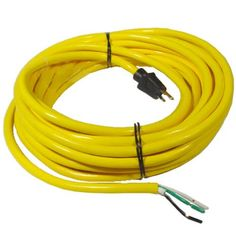 14 Gauge Replacement Power Cord, 3 Conductor, 50\' Length, Yellow