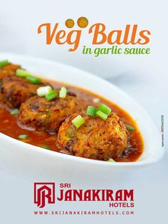 Delicious, healthy #vegetable balls. Great as #appetizer or used on a main #dish plate. Perfect to get your meal off to a hot start!!!! Srijanakiram Hotels  #vegballs #garlicsauce #sidedish #veg #chinese #spicy