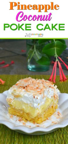 Pineapple Coconut Poke Cake is loaded with tropical flavor and easy to make. With a box cake mix, pudding, pineapple, cooking and whipped cream you can make this cake! Poke Cake Recipes, Cheesecake Recipes, Cupcake Recipes, Cupcake Cakes, Dessert Recipes, Cupcakes, Cake Receipe, Frosting Recipes, Dessert Ideas