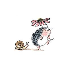 Hérisson poursuivi par l'escargot