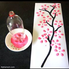 Simple and totally awesome DIY wall art! @Brianna Layser cherry blossom inspired art!