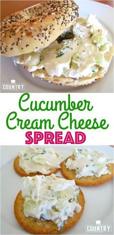 Cucumber Cream Cheese Spread recipe from The Country Cook. Perfect on crackers or in a sandwich! -- could dye eggs, cut in half lengthwise and use this as filler Cream Cheese Spreads, Cream Cheese Recipes, Cream Cheeses, Cucumber Cream Cheese Sandwiches, Cream Cheese Snacks, Sandwich Cream, Salad Sandwich, Snacks Saludables, Cucumber Recipes