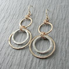 Hammered Gold and Silver Circles Dangle Earrings , Handmade Mixed Metal Hoops Jewelry