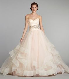 3250, Lazaro, ball gown, tiered skirt, strapless, sweetheart, dropped waist, silk, tulle, Madeleine's Daughter Bridal Inventory