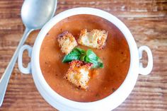 Roast Tomato Soup with Garlic Croutons