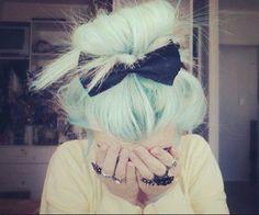 Mint green hair!