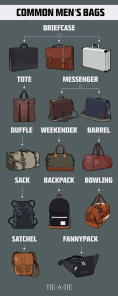 The most common bags, briefcases, and murses in menswear. Click the image to learn more about each bag style. http://www.99wtf.net/men/mens-fasion/smart-casual-men/