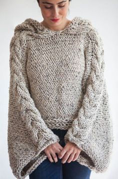 Tweed Beige Angel Sweater Capalet with Hoodie - Over Size Plus