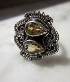 925 stamped double citrine ring  size 8 1/2 by artsandadornments