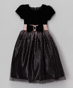 Another great find on #zulily! Black & Pink Velour Tulle Overlay Dress - Infant, Toddler & Girls #zulilyfinds