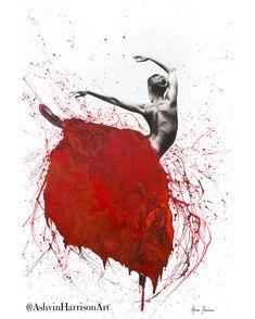 """Red Opal Dance"" by Ashvin Harrison. Paintings for Sale. Ballerina Painting, Ballet Art, Ballet Dancer Tattoo, Red Opal, Dance Paintings, Abstract Canvas Art, Canvas Prints, Art Prints, Large Painting"