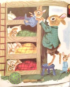 Illustration by Richard Scarry from When Bunny Grows Up. I love Richard Scarry books! Richard Scarry, Bunny Book, Bunny Art, Lapin Art, Claudia Tremblay, Little Golden Books, Vintage Children's Books, Beatrix Potter, Children's Book Illustration