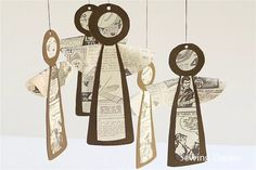 Newsprint Vintage Angels by Sewing Daisies Swap this idea out with angel outline contact paper and tissue paper