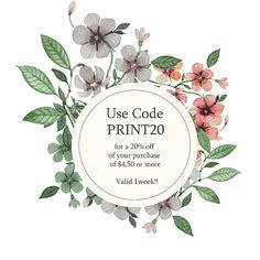 Valid for one week! 20% off of your purchase using the cod PRINT20 !!:):)
