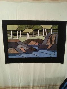 mostly using fabrics that I dyed Stained Glass, Fabrics, Painting, Art, Tejidos, Craft Art, Paintings, Stained Glass Windows, Kunst