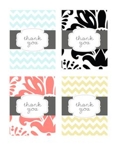 23 Free, Printable Cards to Say Thank You with Style: Set of 4 Free Printable Thank You Cards by Pumpkins