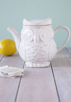 The Gang's Owl Here Teapot. Rejuvenating sunshine, fresh-baked treats, and carefree conversation with your dearest friends - check, check, and check! #white #wedding #modcloth