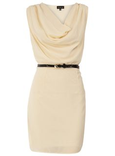 Ivory Belted Cowl Neck Dress