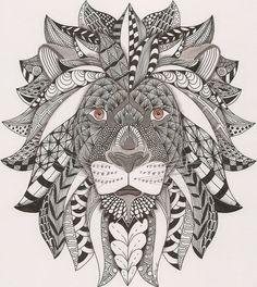 Zentangle lion adult colouring ~ Adri: ornation creation: