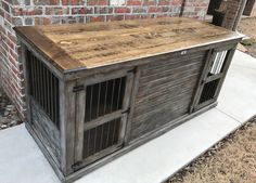 Rustic, weathered farmhouse design. Looks like an old dock! Double indoor dog crate. All doubles come with interior center door that allows the space to be divided or leave it opened for one large kennel! Dog crates should not be wire cages! Upgrade today! Makes a great entertainment piece.