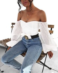 Cute off the shoulder white top.