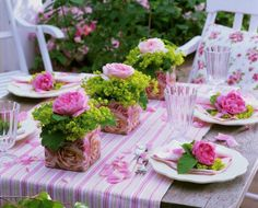 beautiful pink rose themed table for outside entertaining