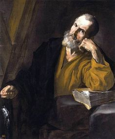 Alma Kuzma  Jusepe de Ribera  St Andrew  1616-18  Oil on canvas, 111 x 93 cm  Private collection    This is an early painting by Ribera executed shortly after his arrival in Naples from Rome. Ribera's early style owes much to what the artist had learned from Caravaggio in Rome.