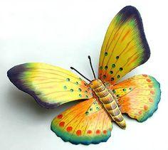 Decorative Butterflies - Hand Painted Metal Butterfly Wall Art - Outdoor Garden Tropical Decor - x Design Tropical, Art Tropical, Tropical Artwork, Tropical Wall Decor, Tropical Colors, Tropical Interior, Metal Butterfly Wall Art, Butterfly Wall Decor, Butterfly Painting
