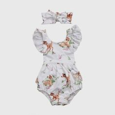 160a3a0a01d3 NEW Disney Bambi Baby Girls White Ruffle Romper Bodysuit   Headband Outfit  Set