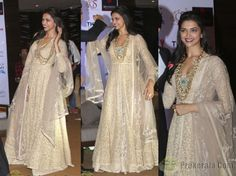 The Kolkata leg of Ram Leela promotions saw Deepika in a beige Sabyasachi floor-length kurta/lehenga look paired with jewellery from Amrapali. Instead of doing red lips like she did with the last Sabya look, this time she went with a maroon tone.  While she looked nice, would you have you preferred that she'd picked a look that wasn't so similar to the previous one?