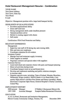 example of hotel restaurant management httpexampleresumecvorgexample resume cvmanagement