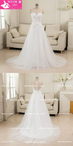 Vestido De Noiva De Renda 2016 A-Line Sheer Lace Vintage Wedding Dresses  Sexy Pearls 3208f886657b