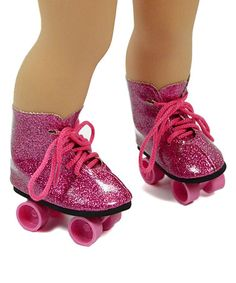 Another great find on #zulily! Pink Glitter Roller Skates for 18'' Doll #zulilyfinds