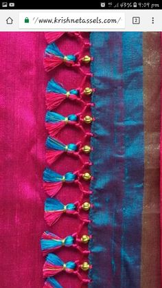 Saree kunchu Saree Tassels Designs, Saree Kuchu Designs, Saree Blouse Neck Designs, Stylish Blouse Design, Stylish Dress Designs, Beaded Embroidery, Hand Embroidery, Mirror Work Blouse Design, Blouse Desings