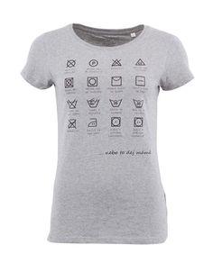 ZOOT Lokál - Šedé dámské triko Prací symboly - 1 Suits You 8badebe443