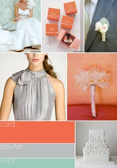 coral, gray, navy blue wedding colors schemes | Peach, pink, and gray make a surprising combination to me, but it sure ...