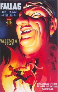 Cartel Fallas de Valencia 1947. Diseño: Vicente Gil Pérez.