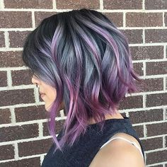 50 Purple Hair Color Ideas for Brunettes You Will Love in Purple hair color ideas for brunettes is in, ladies! When work comes to hair color ideas which can truly flatter any skin tone, purple hair colors are. Inverted Bob Hairstyles, Cool Hairstyles, Bob Haircuts, Hairstyles 2016, Office Hairstyles, Anime Hairstyles, Hairstyles Videos, Hairstyle Short, Hair Updo