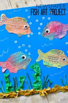 Tissue 4 seaweed instead of 4 ocean? (Or just use 4 ocean)This mixed media newspaper fish art project is full of texture and color and kids will have a blast creating it. Perfect as a summer craft for all ages. Fun Crafts For Kids, Summer Crafts, Summer Art, Projects For Kids, Food Art For Kids, Ocean Crafts, Fish Crafts, Kindergarten Art Projects, Kindergarten Lessons