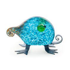 Fizzy: 24-11-71 in Blue, Hand-Blown Art Glass by Borowski Glass Studio