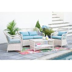 Leisure Made Lakeland Wicker Patio Conversation Set with Spa Blue Cushions - The Home Depot Outdoor Sofa Sets, Outdoor Seating, Outdoor Furniture Sets, Outdoor Decor, Outdoor Sectional, Outdoor Rooms, White Patio Furniture, Green Cushions, Steel Frame