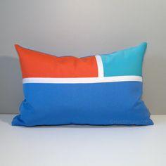 Modern Color Block Pillow in a palette inspired by Mediterranean seaside towns.  #Sunbrella #SunbrellaPillows #StTropez #ModernOutdoorPillows #Mazizmuse #OutdoorPillows